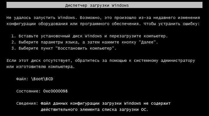 Надпись на чёрном экране при включении компьютера